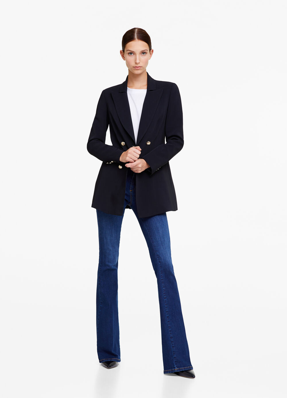 Stretch flared worn-effect jeans