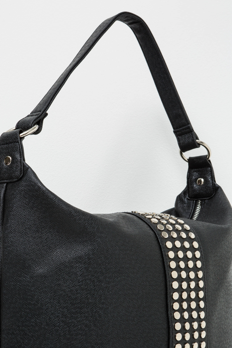 Shoulder bag with zip and studs image number null