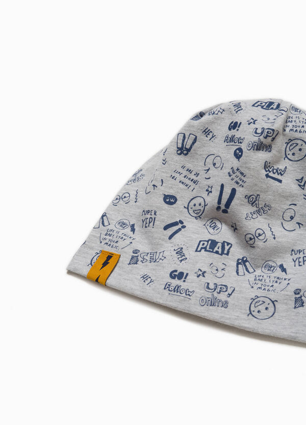 Cotton beanie cap with lettering pattern | OVS