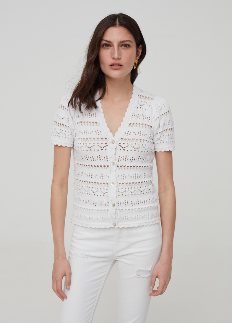 Openwork cardigan with short sleeves image number null