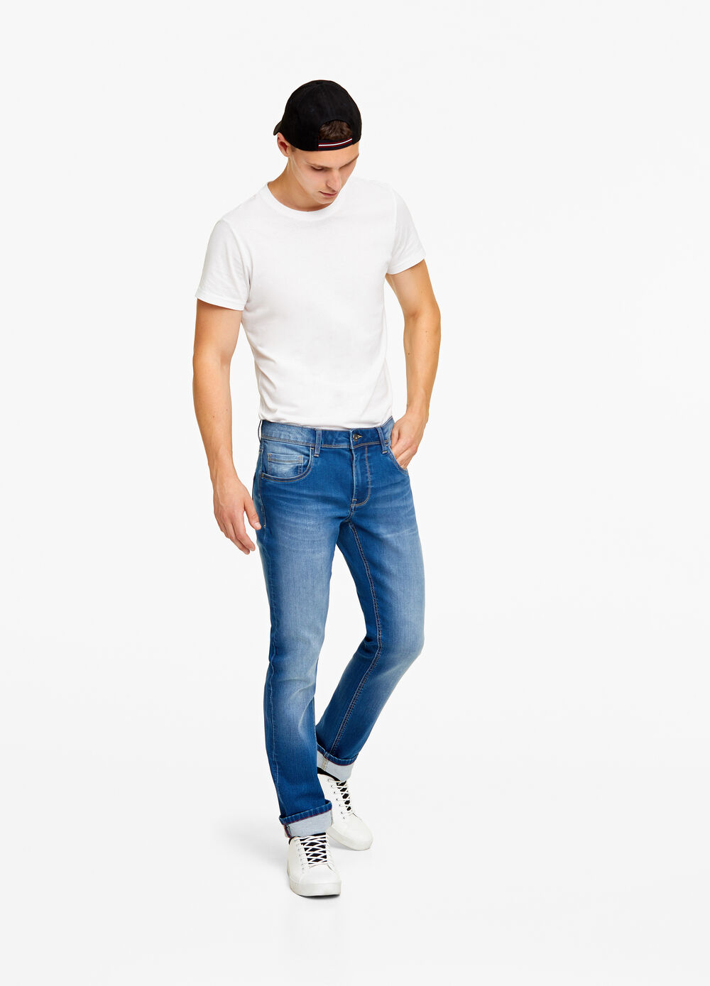 Slim-fit, stretch jeans with fleece