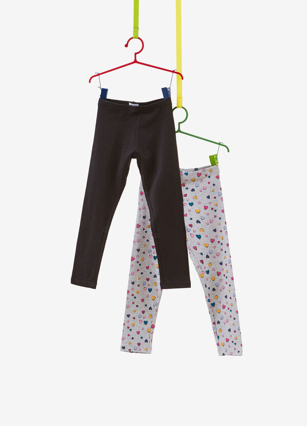 Two-pack stretch cotton leggings with hearts and solid colour