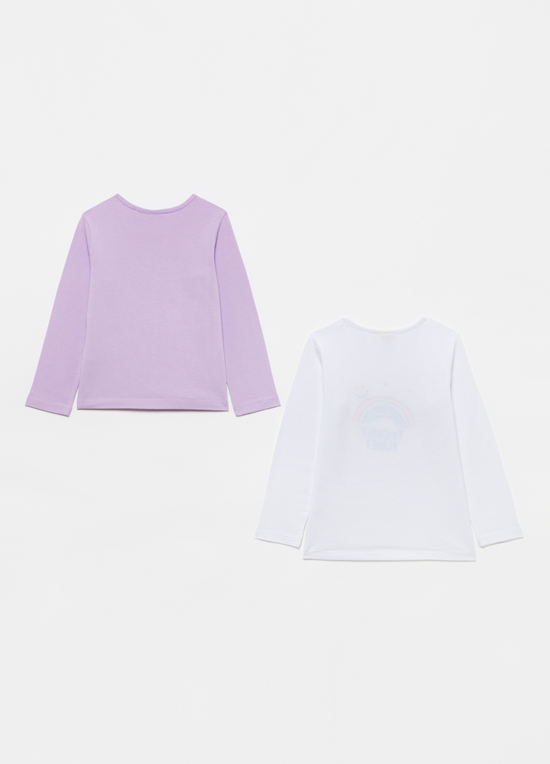 Two-pack 100% cotton T-shirts with long sleeves image number null