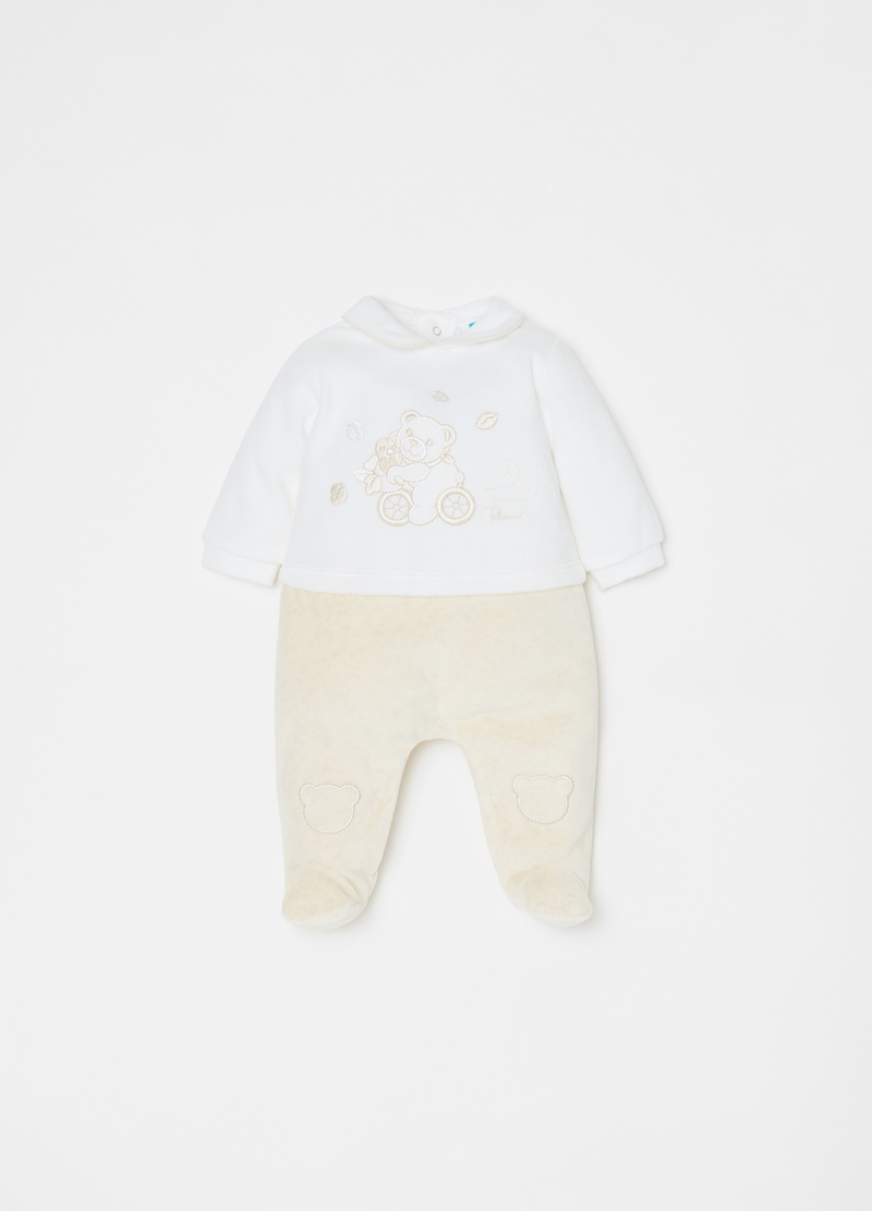 Two-tone onesie with feet and THUN embroidery image number null