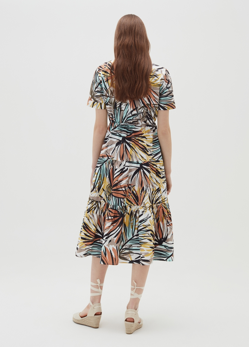 Poplin midi dress with foliage print image number null