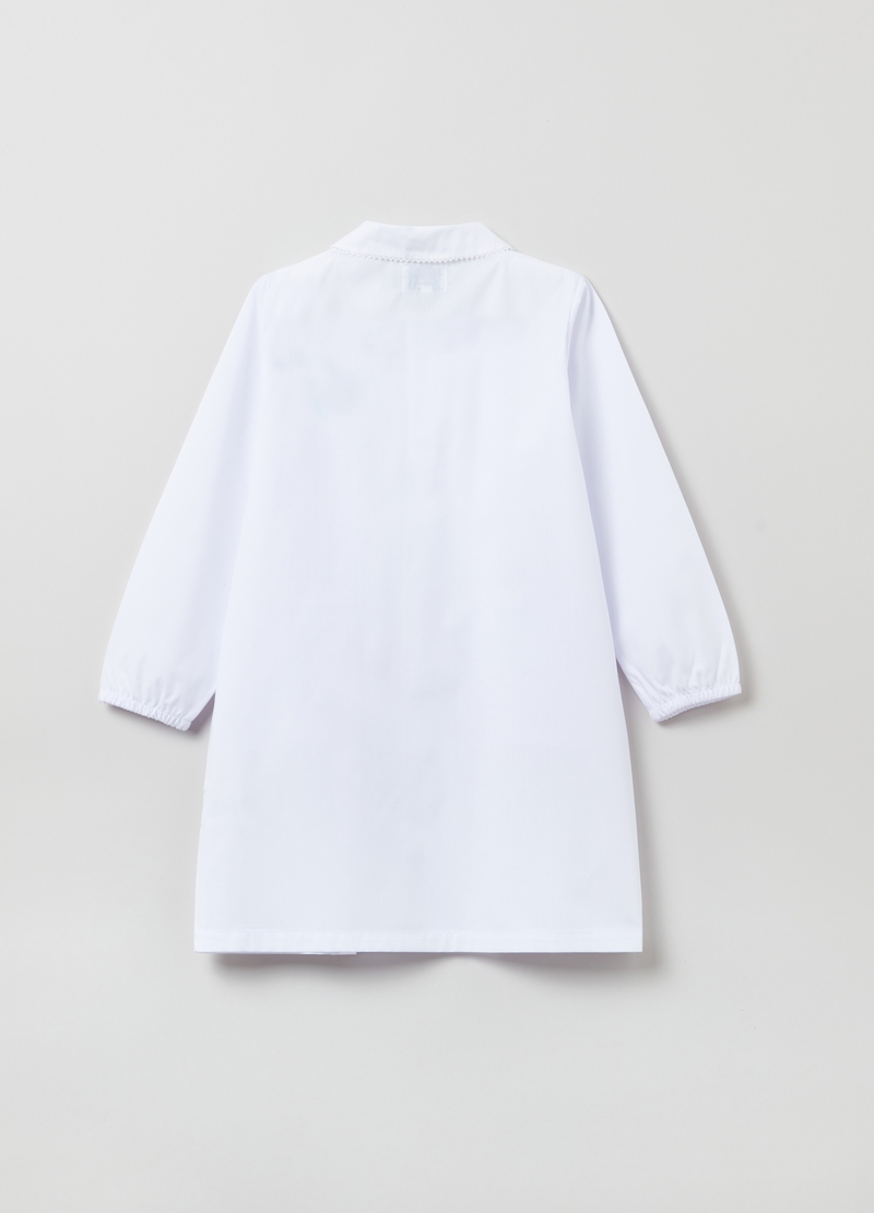 School smock with buttons and diamanté kitten image number null