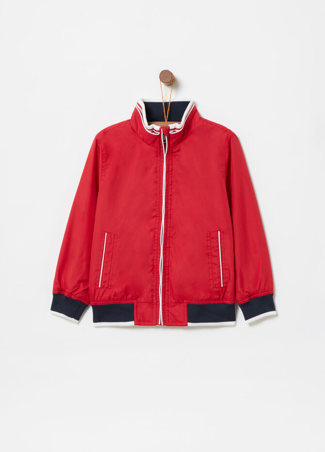 Nylon jacket with welt pockets