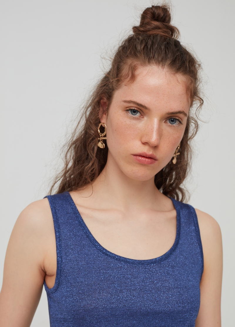 Solid colour tank top with lurex image number null