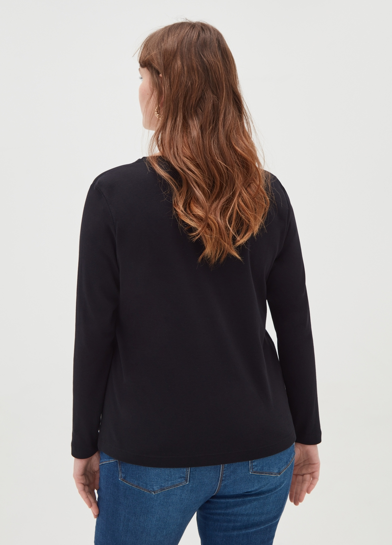 Curvy 100% cotton T-shirt with long sleeves image number null