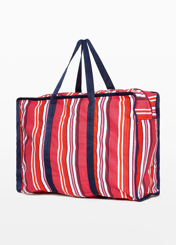 Cotton beach bag with striped pattern