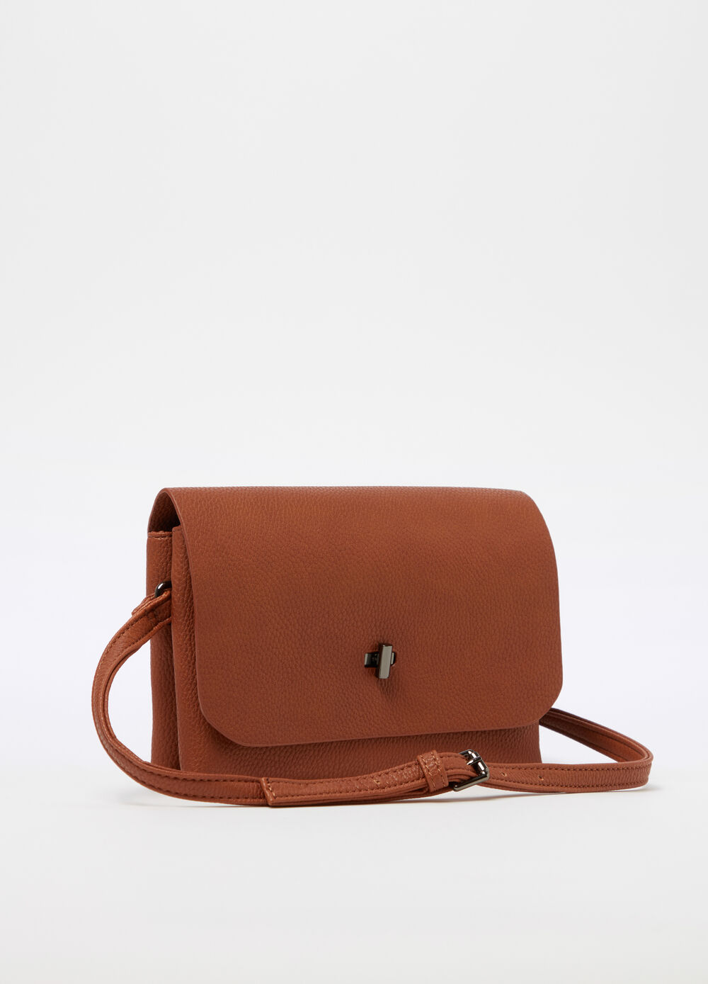 Leather-look clutch with shoulder strap
