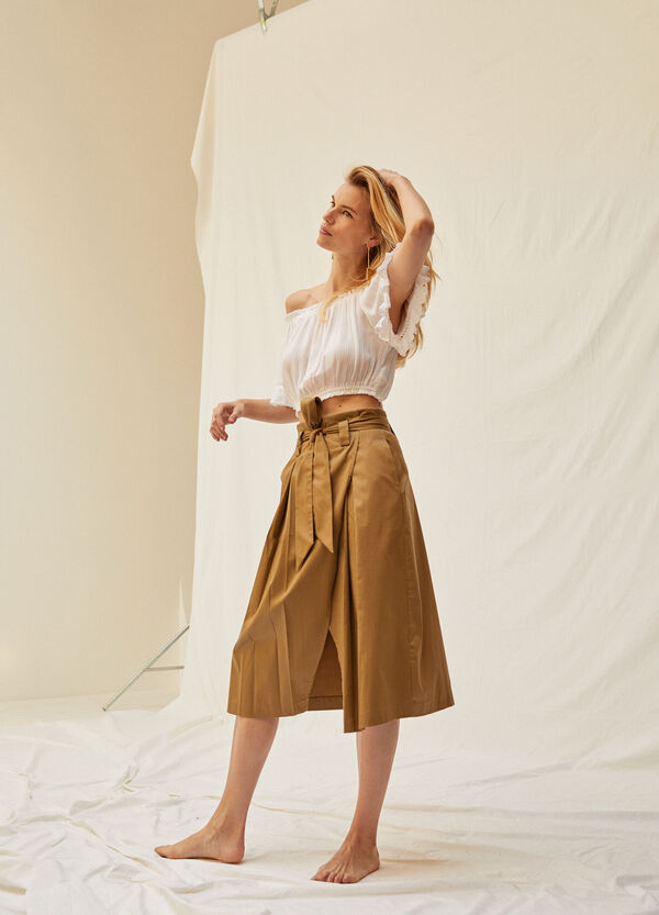 Stretch cotton longuette skirt