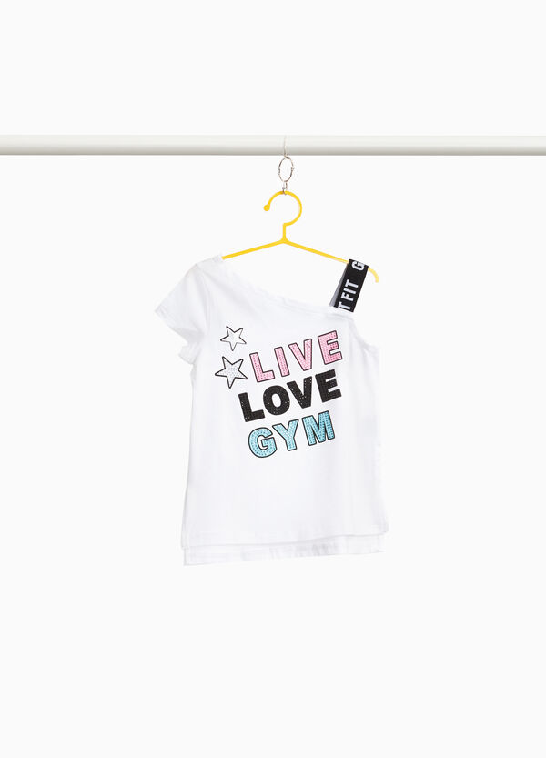 Stretch cotton T-shirt with one shoulder strap