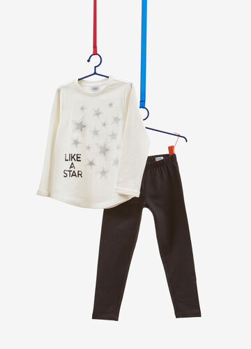 Cotton tracksuit with diamantés and glitter stars