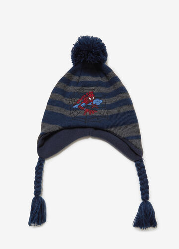 Cappello a cuffia righe con ricamo Spiderman