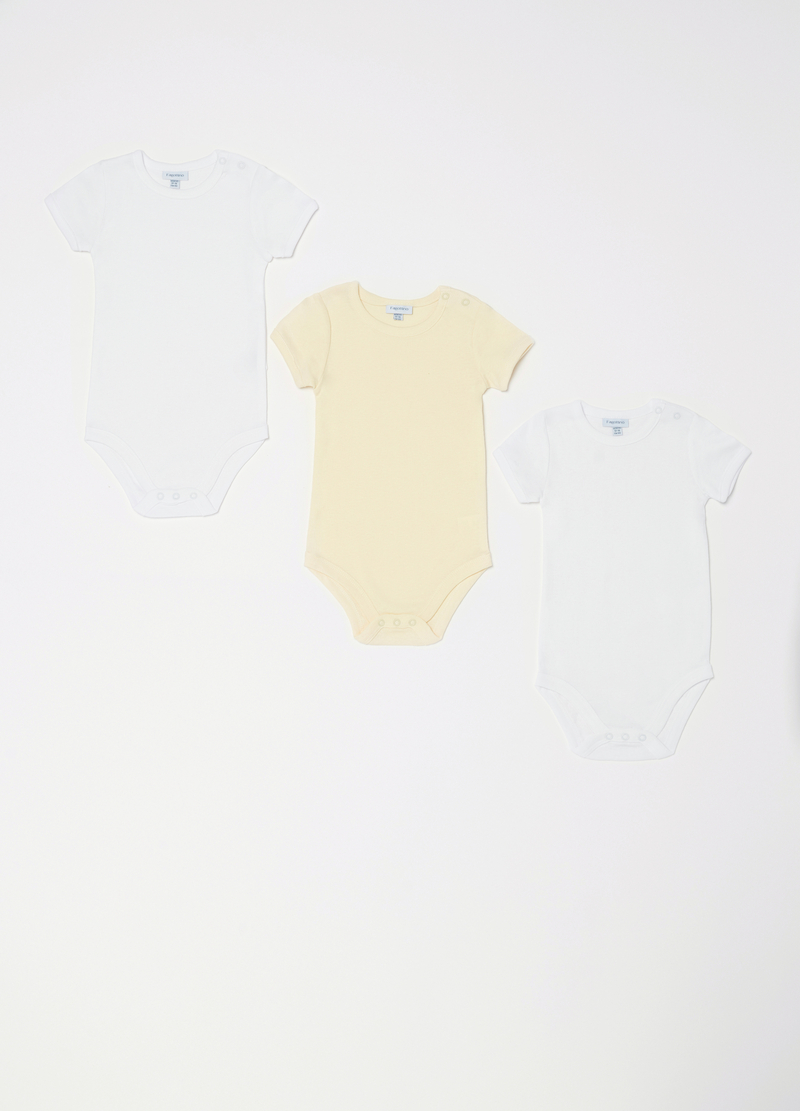 Three-pack solid colour bodysuits in 100% cotton image number null