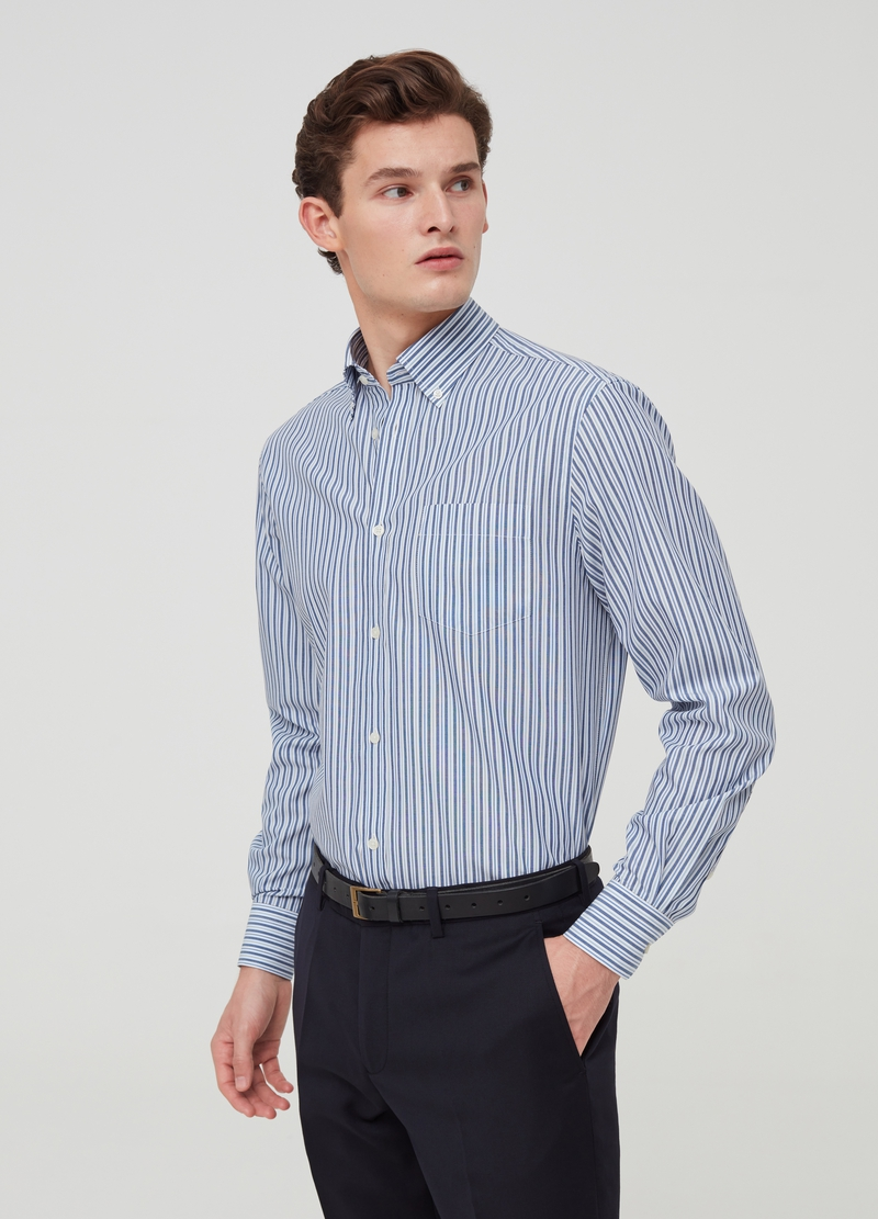 100% cotton regular-fit shirt with stripes image number null