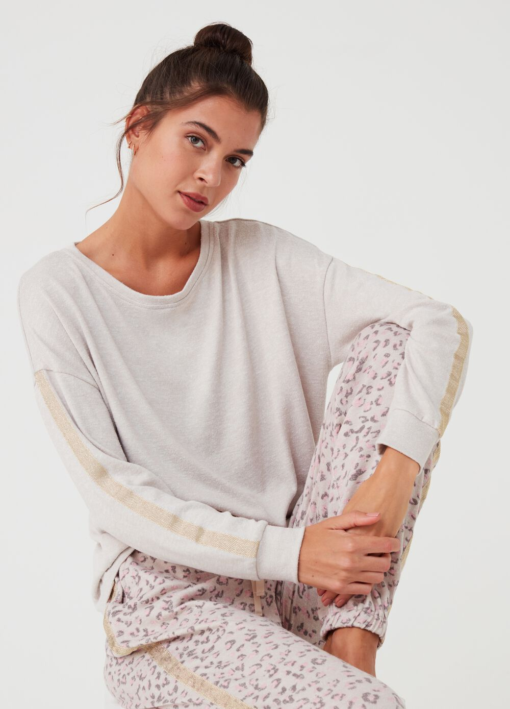 Mélange pyjama top with lace insert