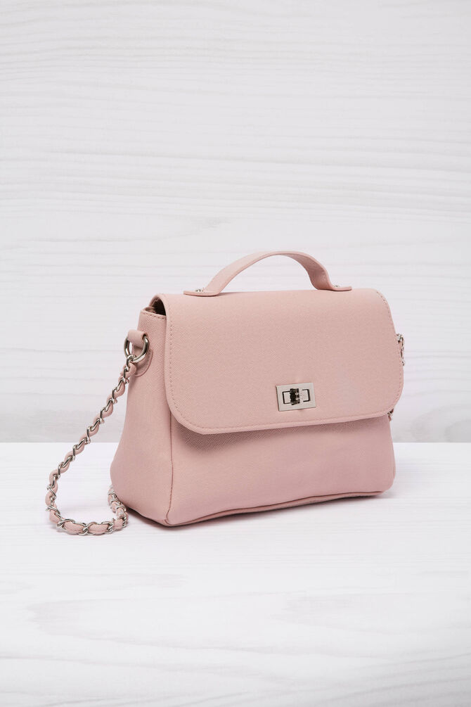 Leather look satchel with shoulder strap