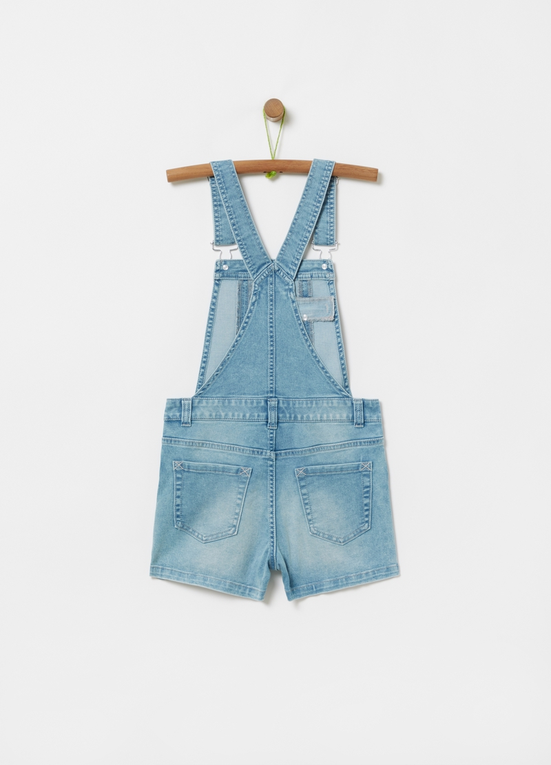 Denim dungarees with glitter edging image number null
