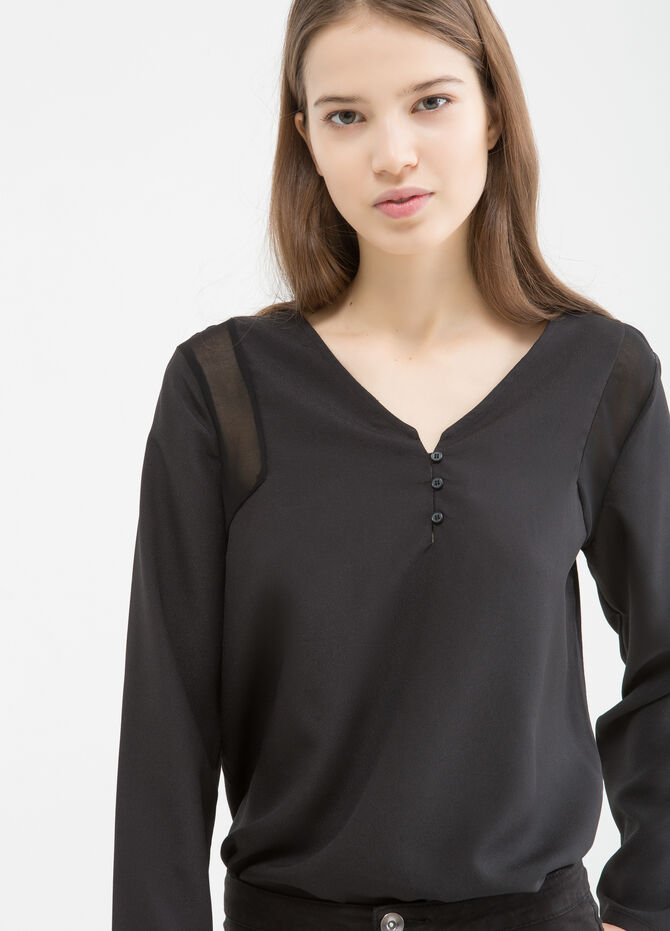 Blouse with semi-sheer inserts