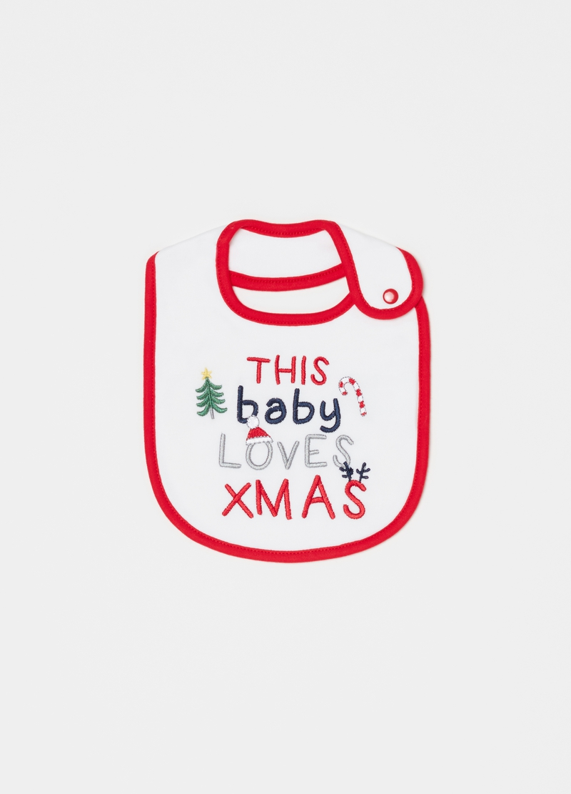 Bib in 100% cotton with Christmas embroidery image number null