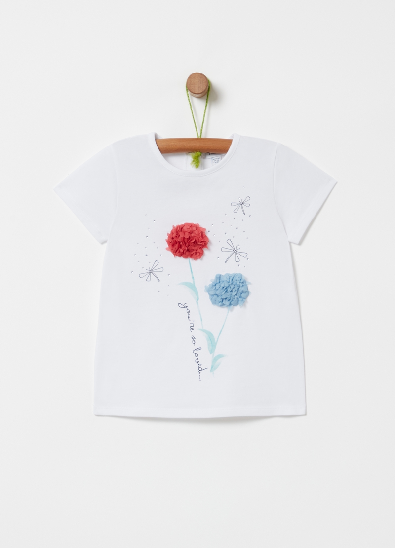 T-shirt with floral inserts image number null