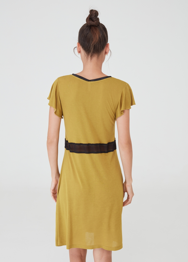 Nightdress with pleated cap sleeves image number null