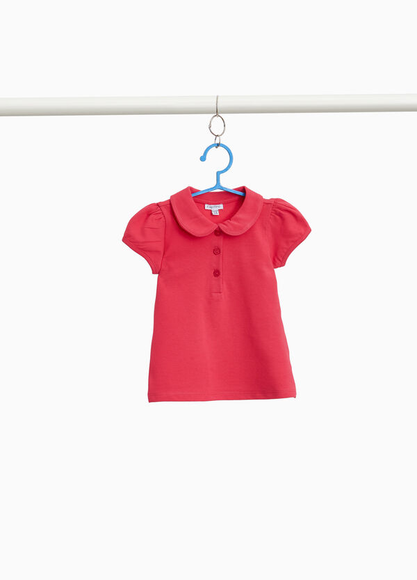 Polo shirt in stretch cotton with puff sleeves
