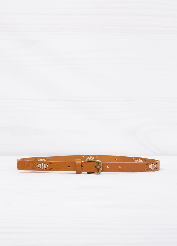 Solid colour leather look belt. | OVS