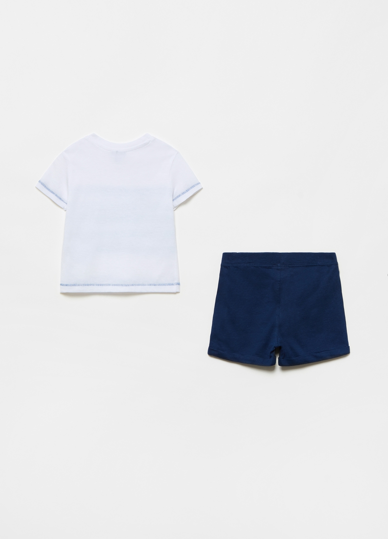 T-shirt and shorts jogging set with sea print image number null