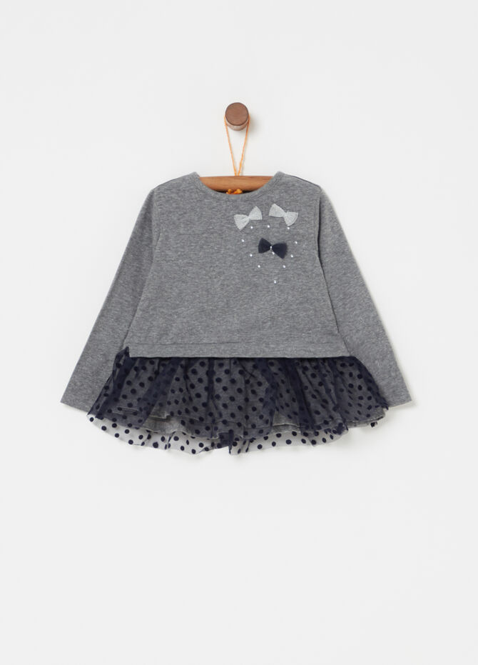 T-shirt mélange con strass e tulle pois