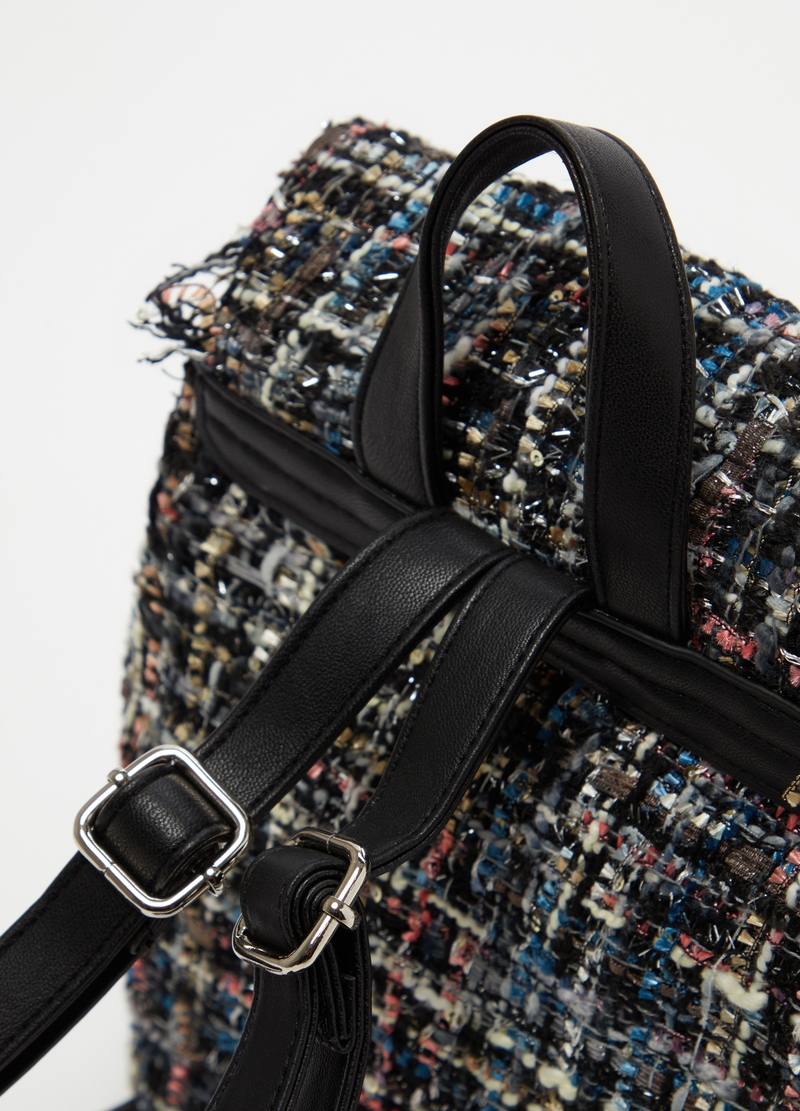 Backpack with tweed-effect flap image number null