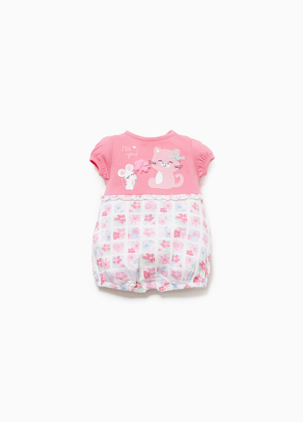 Cotton romper suit with patch and pattern