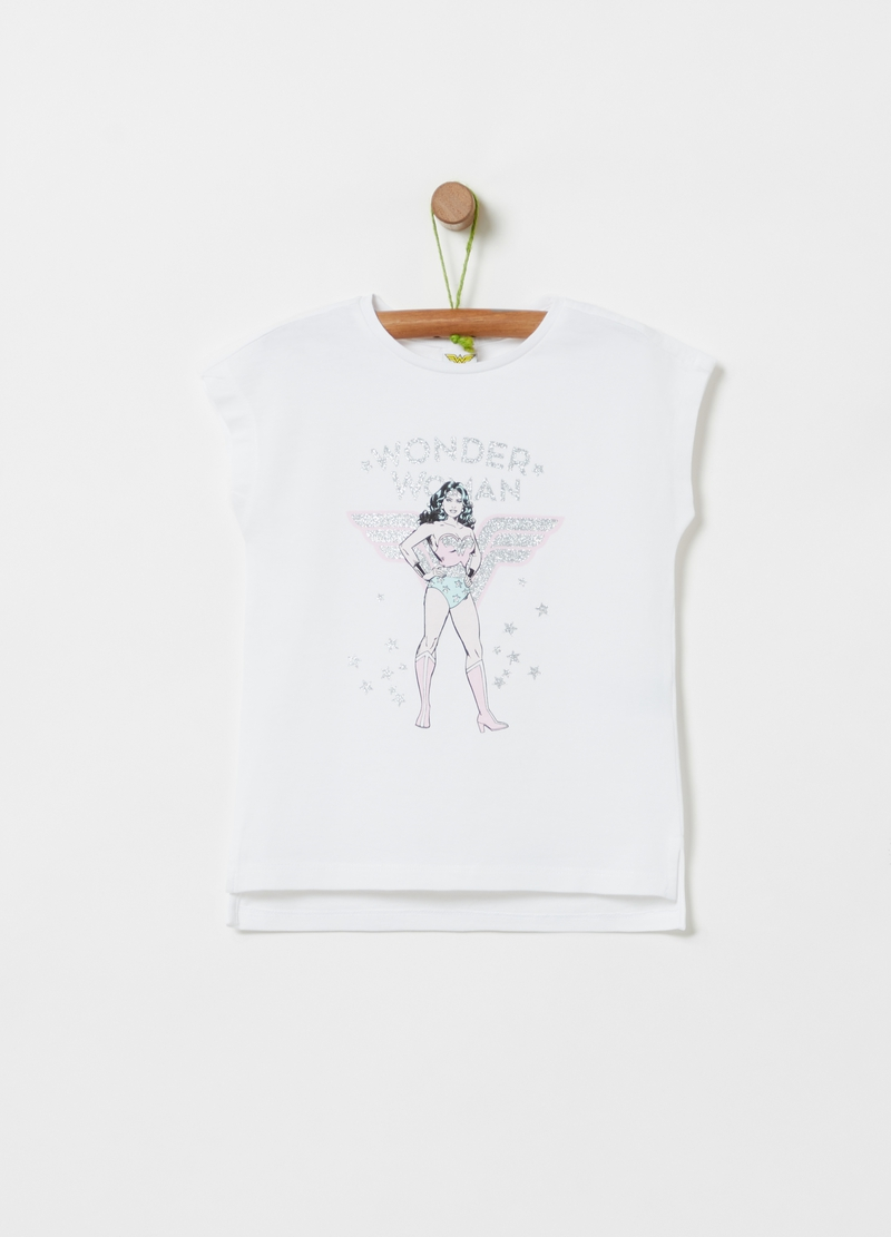 T-shirt with Wonder Woman glitter print image number null