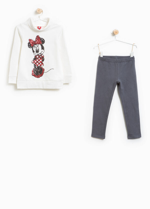 Stretch cotton Minnie Mouse tracksuit with sequins | OVS
