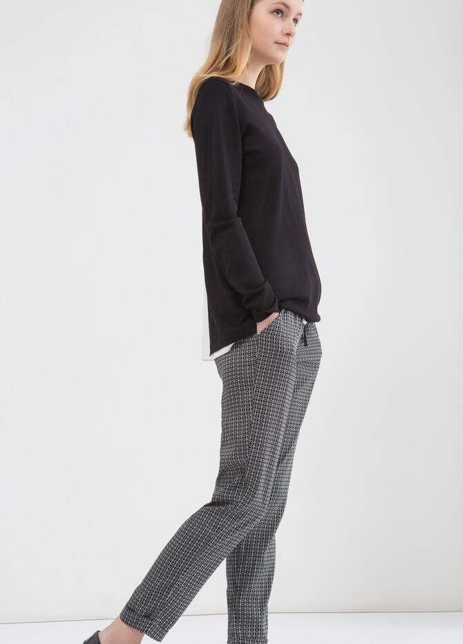 Patterned trousers with drawstring
