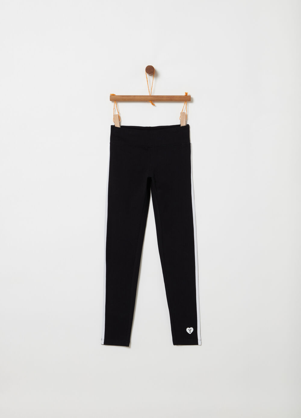 Jersey leggings with contrasting bands