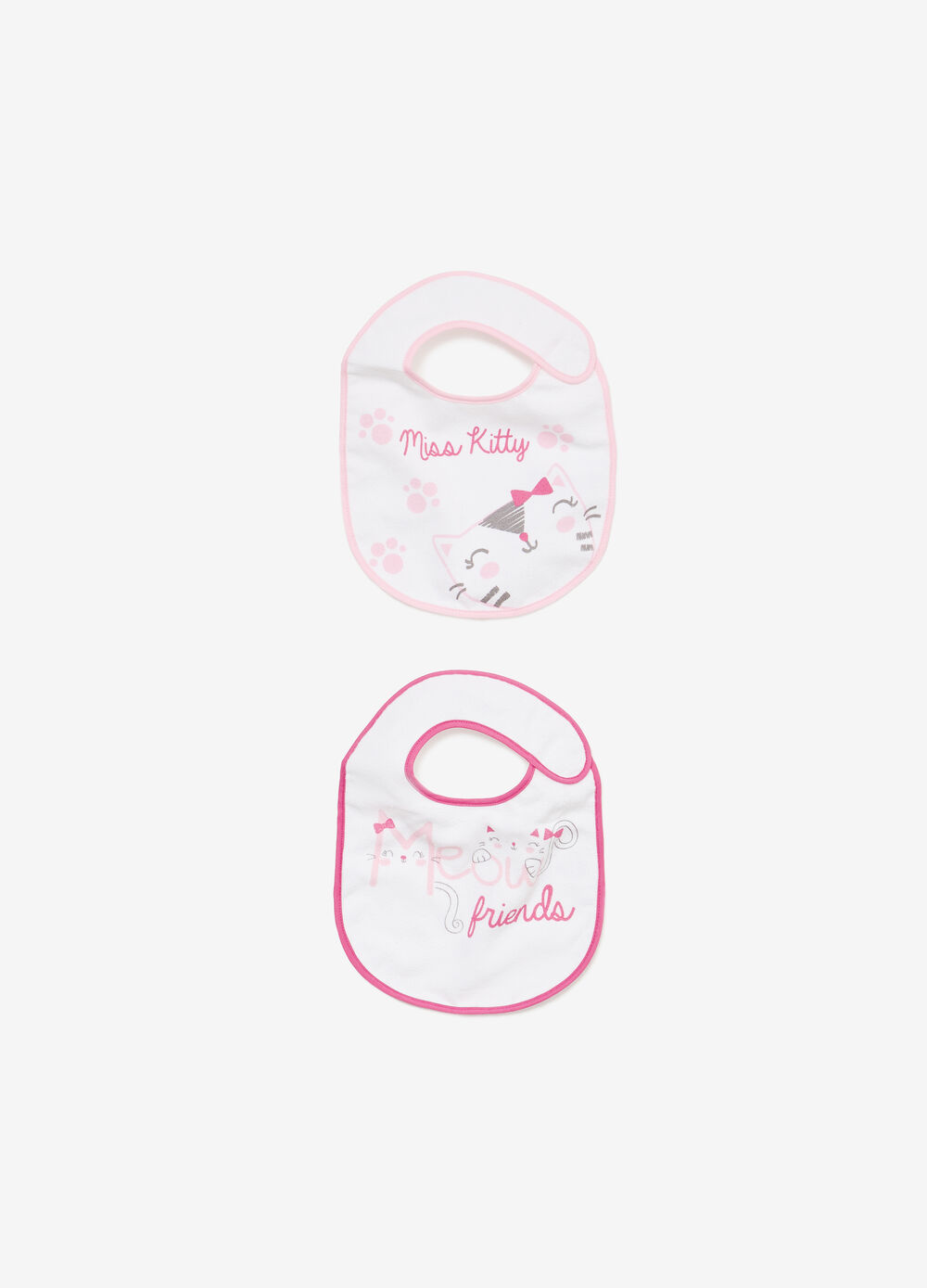 Two-pack bibs with kitten print