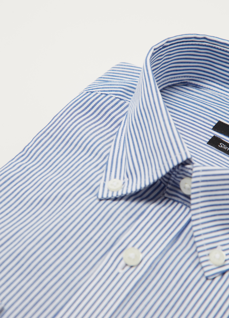 Slim-fit shirt in striped poplin image number null