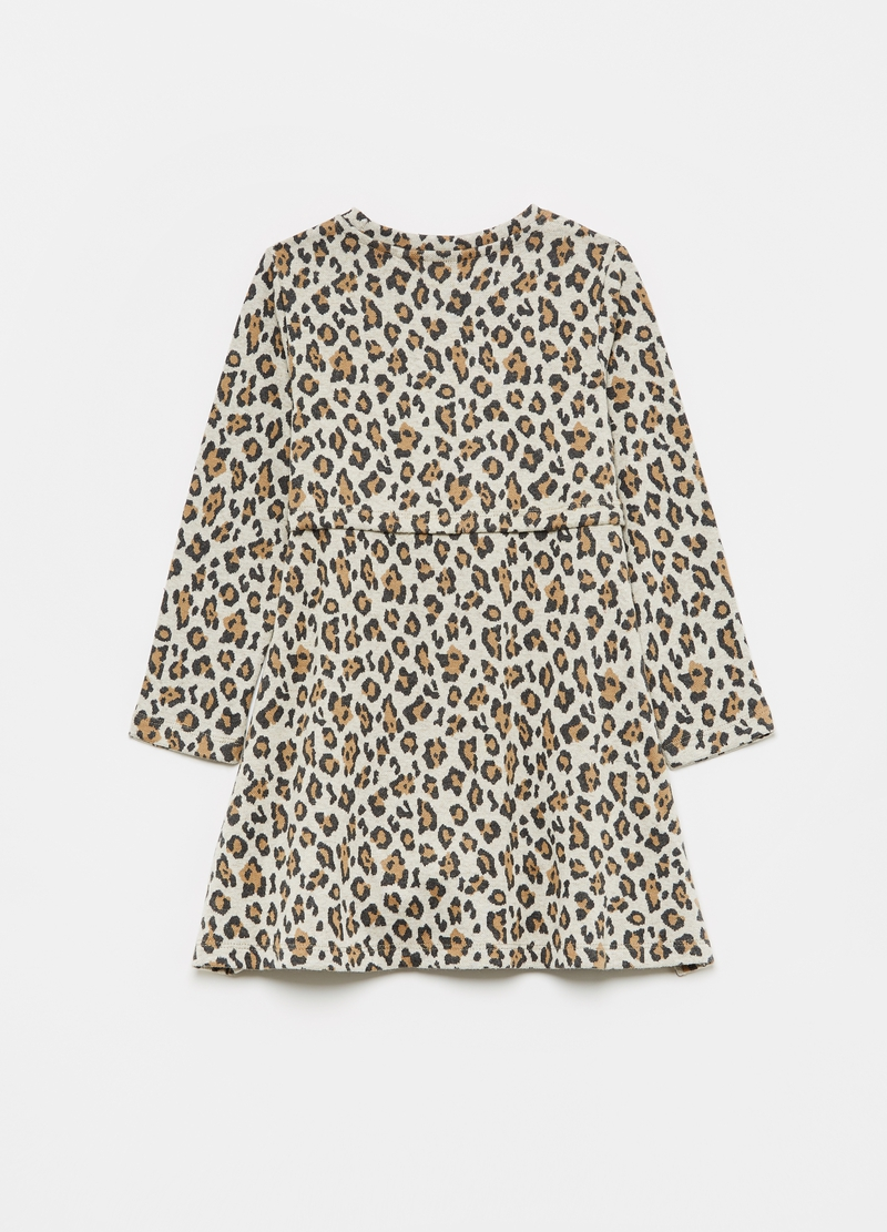 Animal print dress with bow image number null