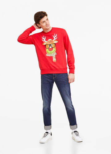 Cotton blend Christmas sweatshirt with print