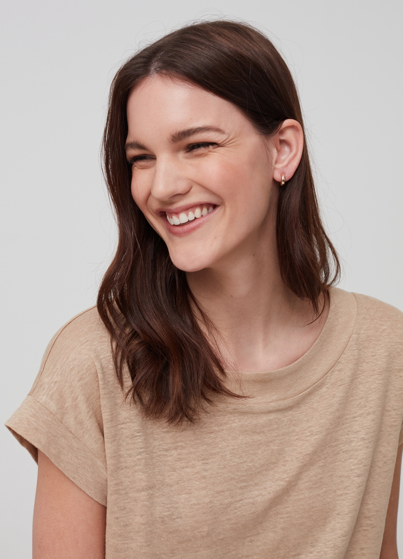 Solid colour 100% linen T-shirt image number null