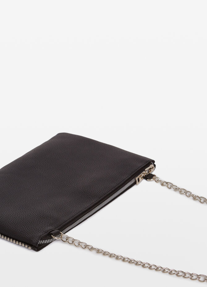 Clutch bag with shoulder strap and studs