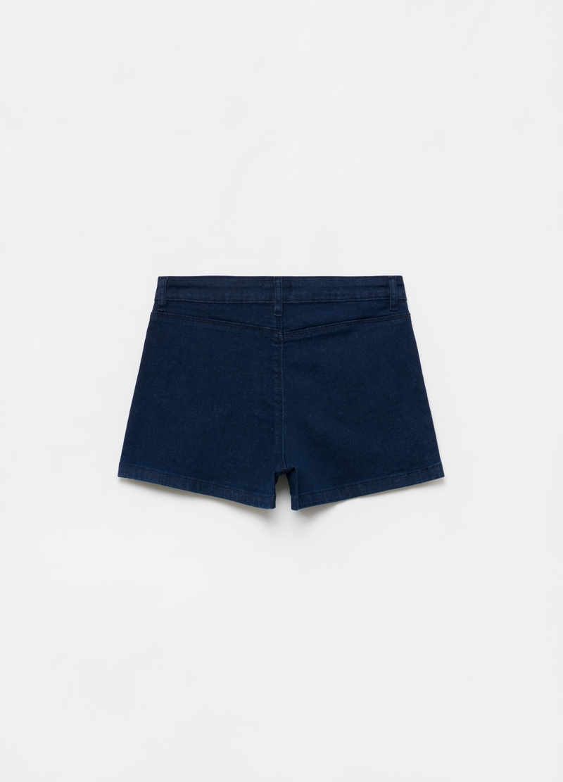 High-waist stretch denim shorts image number null