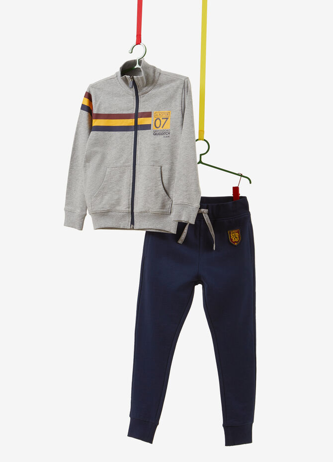 Stretch cotton tracksuit with sweatshirt and trousers