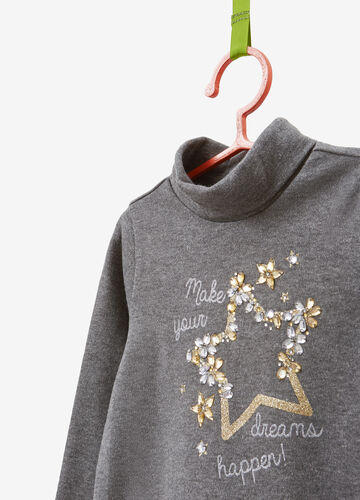 Turtleneck jumper in 100% cotton with glitter print and diamantés