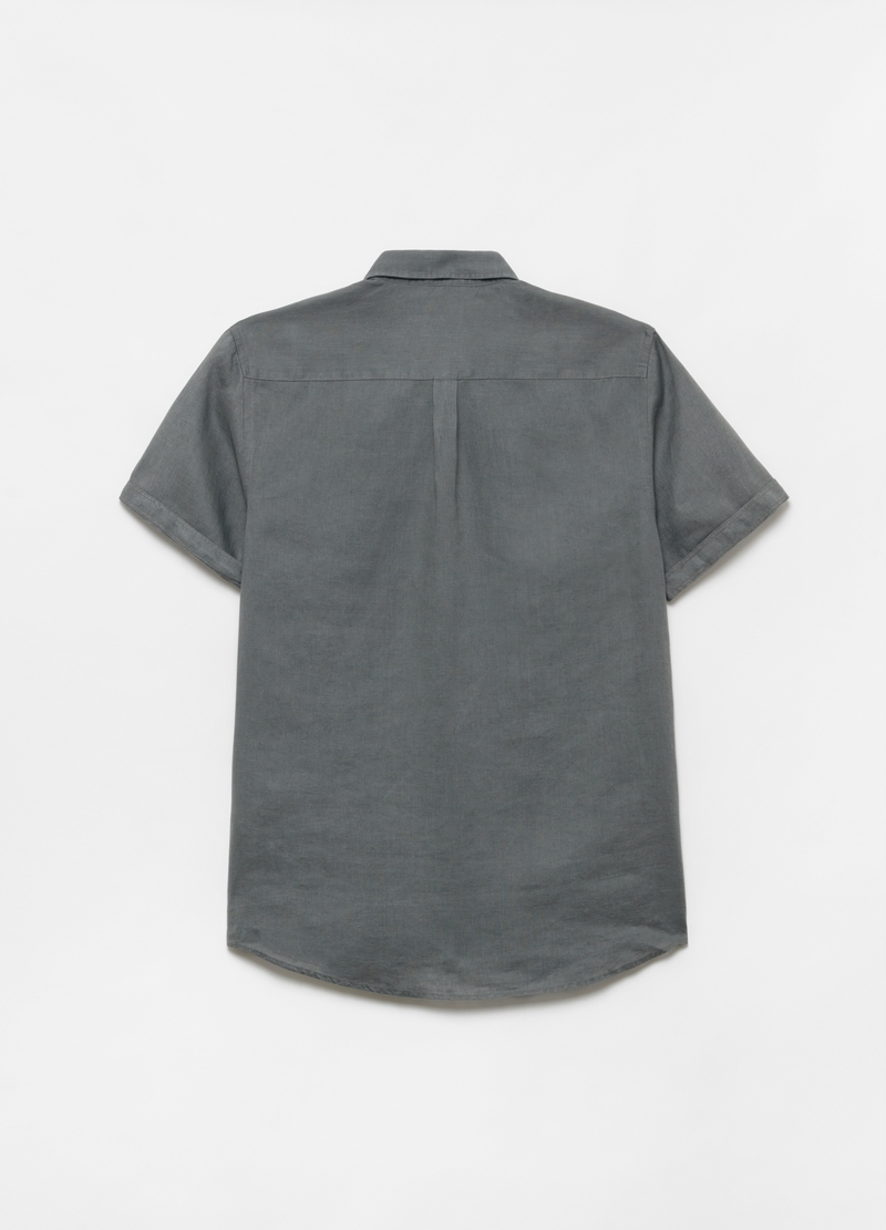 100% linen shirt with cutaway collar image number null