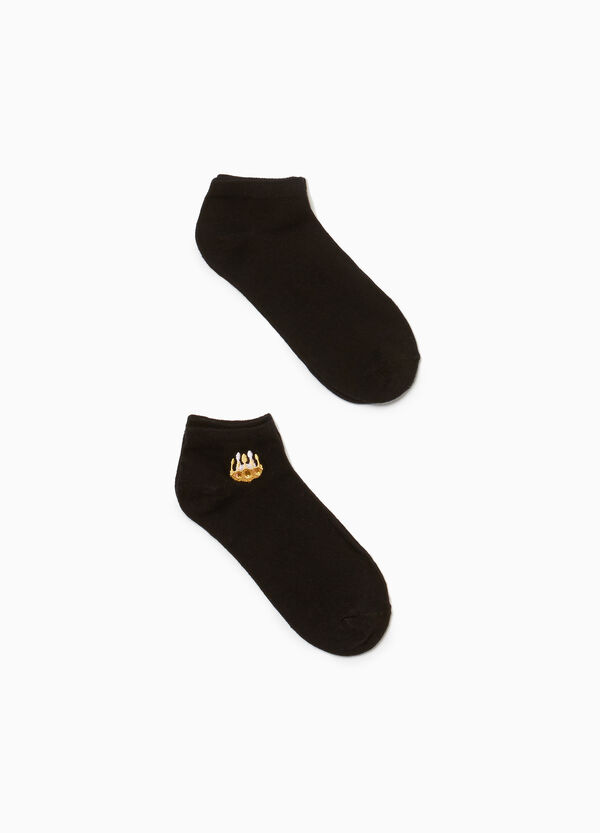 Two-pair pack socks with crown embroidery