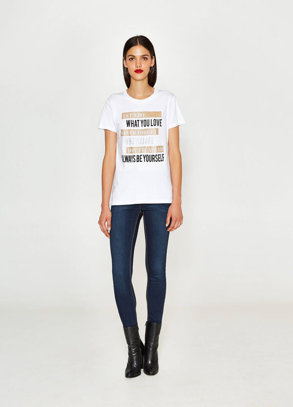 T-shirt with printed glitter lettering | OVS